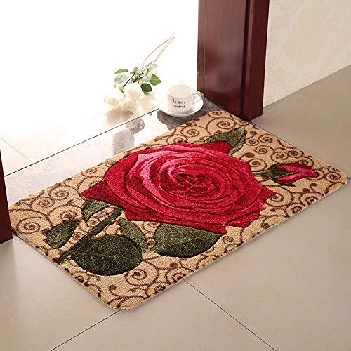 Ahuike Waterabsorberende badkamer tapijt matten gemakkelijk te wassen en droog mooie en duurzame tapijt badmat voor wastafel toilet Rose 40X60cm