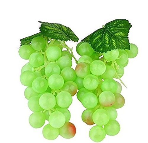 WADY 2pc Deco - Uvas falsas de plástico para vino y uvas artificiales de frutas de plástico para frutas artificiales y vegetales, 36 piezas, 17 cm (verde)