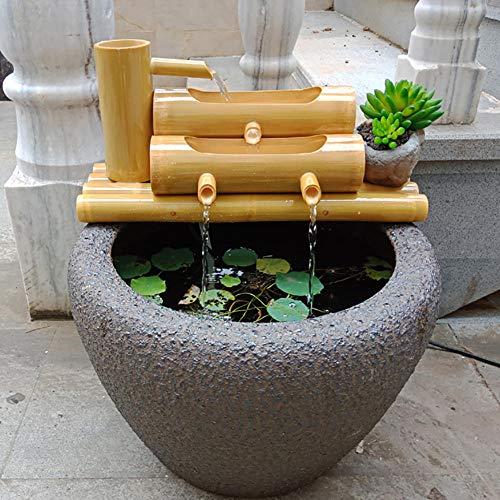 QXPuSS Aquarium Spitter, Garten Wasserspiel, Bomboo Japanische Gartendekoration Für Teich Pool Terrasse Balkon-50 cm