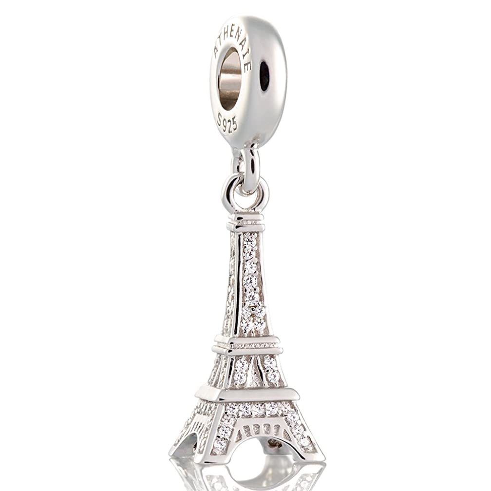 ATHENAIE?925?Silver?Plated?Platinum?with?Pave?Clear?CZ Eiffel Tower Pendant Drops Charm Beads