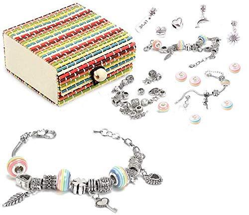 Queta 3Pcs Argent Bracelet Fille Bracelet Fille Kit de Fabrication de Bijoux avec Coffret De Perles Parfait Cadeaux...