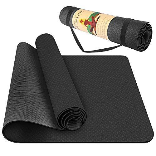 StillCool Tappetino da Yoga, Tappetino da Yoga Imbottito e Antiscivolo Fitness Pilates e Ginnastica con Cinturino di TPE (Nero-1)