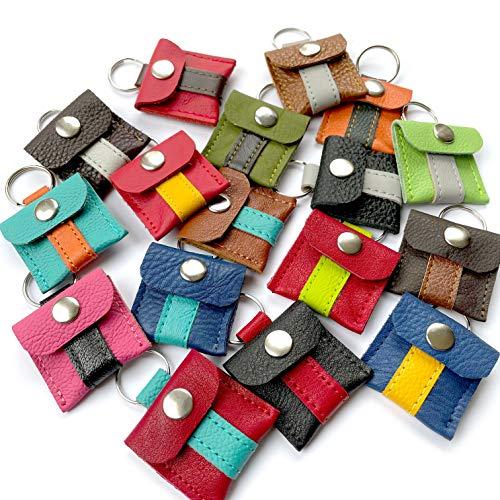 Halsbandtasche aus Leder für Hundemarke, Steuermarke, Tassomarke, Einkauschip   Ring Aufbewahrung   Viele Farbkombinationen möglich   Handmade in Germany   Chiquita Jo