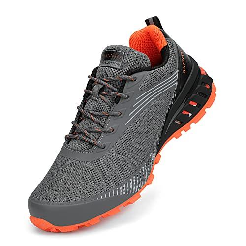 Dannto Men's Trail Running Shoes Outdoor Hiking Sneakers Walking Trekking Cross Training Grey,43,Size 10