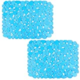 2Pcs Sink Mat Adjustable Sink Saddle Eco-friendly PVC Modern Design Dish Drying Mat for Kitchen Accessory (Y-Blue)