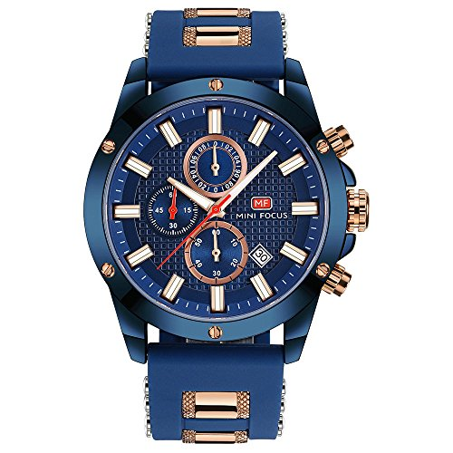 CALUXE Reloj militar de cuarzo para hombre, correa de silicona azul océano, 6 manos, diseño de perno 3D, calendario, multifunción, resistente al agua, relojes de pulsera