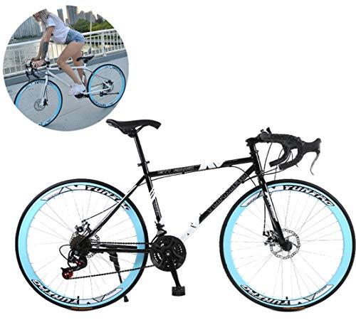 Jjwwhh 28 Zoll Rennrad Road Bike, Straßenrennrad mit Carbon Gabel für Damen und Herren,Vollfederung Mountain Bike,24 Speed,White 40 Spoke/Bule