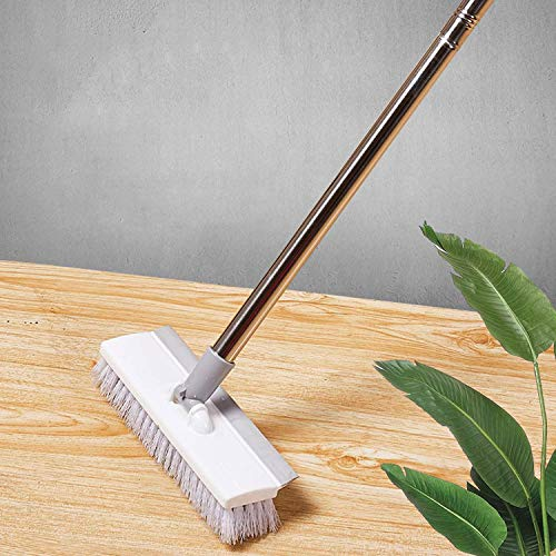 Yique 46 Inch Floor Scrub Brush with Long Handle, Shower Cleaning Scrubber Brush-Large Deck Brushes for Scrubbing, Stiff Bristle Push Broom for Kitchen/Bathroom/Boat/Grout/Patio/Garage and Concrete
