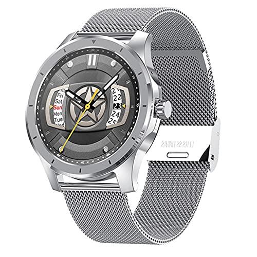 Ladies Men Smart Watch MX10, Color Pantalla táctil Completa Fitness Tracker Presión Arterial Reloj Inteligente Smartwatch para Android iOS,B