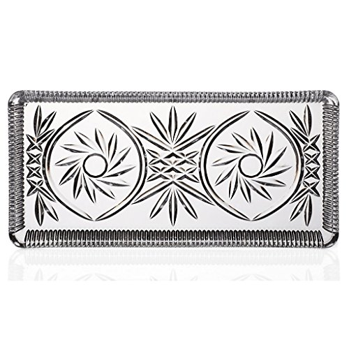 CRISTALICA Kuchenplatte Knabberplatte Servierplatte Lina 28 X 14 cm Transparent Kristallglas