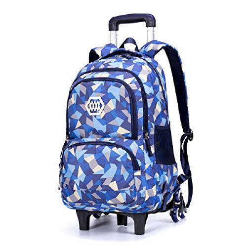 ZZLHHD Escolar Trolley niña,Paquete de Tirantes de Gran Capacidad, Mochila Desmontable-Azul_Seis Rondas,Primaria Mochila Niños con Ruedas