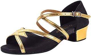 WINJIN Sandales pour Filles Chaussures pour Enfants à Compensées Chaussures Princesse Paillette Talons Hauts de Danse Clas...