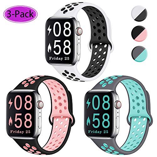 Comvin Compatible for Apple Watch Band 38mm 40mm 42mm 44mm, Soft Silicone Sport Band Breathable Replacement Wristband Compatible for iWatch Series 5/4/3/2/1