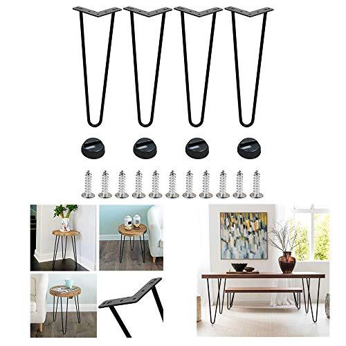 WOWOSS Juego de 4 Pies de metal para mesa y mueble, patas negras en horquilla robustas de 41 cm (tornillo incluido)