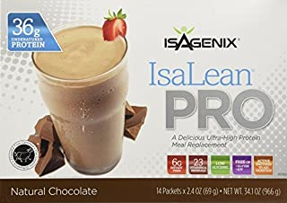 Isagenix Isalean Pro Natural Chocolate Protein Shake 36g Protein, 14 Packets