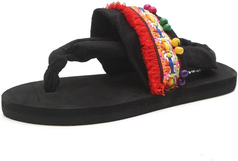 Women's Ethnic Style Flip-Flops Heel Handmade Beach shoes Non-Slip Flat Heel Sandals Ladies Sandals (Pink Red) ( color   Red , Size   40 )
