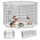 HONGFENGDZ Dog Pen Puppy Playpen Pet Play Yard Fence Indoor Outdoor Foldable Metal Play Pen Dog Gate Enclosure for Small Large Dogs Rabbit Bunny Puppies 42'