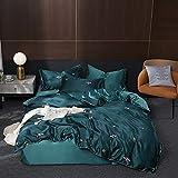 Funda Nordica Cama 135,Se puede lavar el conjunto de cuatro piezas de seda, versión de verano de la impresión de una sola chaqueta de lujo de lujo de doble luz con funda de almohada-S_1,8 m de cama (