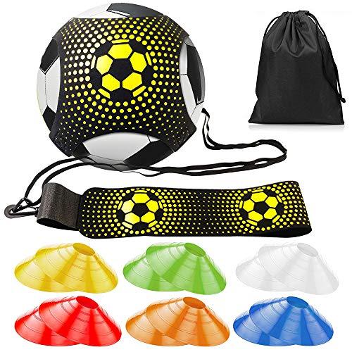 Fußball Kick Trainer Solo, Football Einstellbar Fußballtraining Taille mit Gurt Elastikseil Universal passt # 3# 4# 5 Fußbälle für Kinder Erwachsene