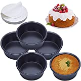 4 Inch Cake Pan Set of 5, Nonstick Round Cake Pans with 100 Pieces Parchment Paper, Baking Pan for Mini Cake Pizza Cheesecake, Non Toxic & Leakproof , Aluminum Material Food Grade Non Stick Coating