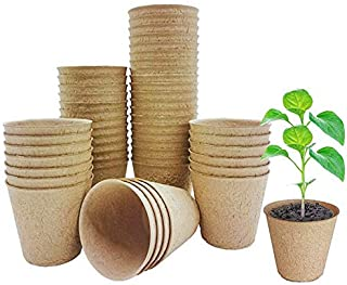 Peat pots for seedlings - round seed pots 3 inch seed starter pots biodegradable eco-friendly - nursery pots for seedlings...