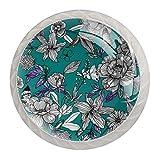 Perillas redondas románticas para aparador floral (4 piezas) – Colorido decorativo floral cajón manija decoración del hogar Hardware Pull Pomos