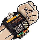 Bricolage Bracelet Magnetique Cadeau Homme - Meilleurs Cadeau Homme pour Ceinture Outil avec 15 Puissants Aimants, Cadeau Homme Père Anniversaire Bracelet Aimanté pour Vis de Maintien,etc (1, OG)