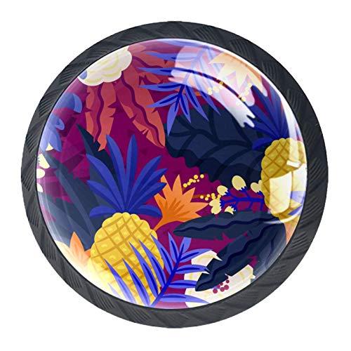Juego de 4 pomos redondos de cristal de 30 mm para cajones, pomos para armarios, pomos de cristal, diseño de hojas de piña, color morado tropical