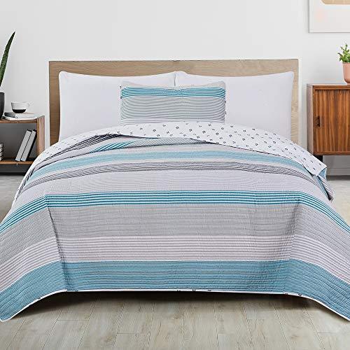 Great Bay Home - Colcha reversible de 2 piezas, diseño de rayas, con 1 funda Colcha para todas las estaciones, con rayas de agua y topo. Colección Bryce (Doble 2 camas)