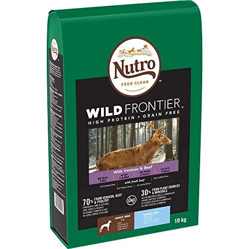 NUTRO Hundefutter Trockenfutter Wild Frontier Adult für große Hunde 1+ Mit Hirsch & Rind, 1 Beutel (1 x 10kg)