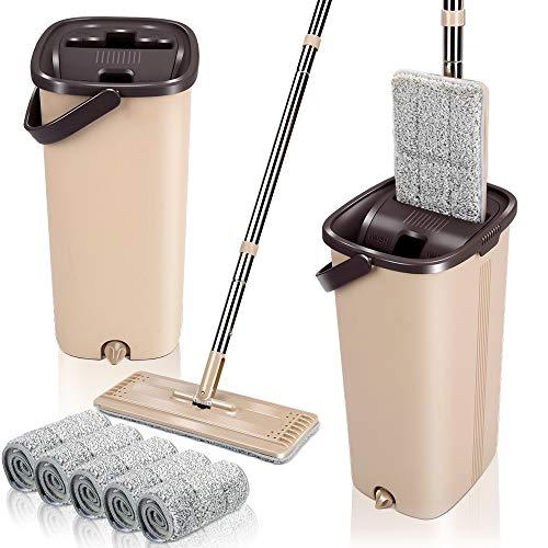 Mocio e Secchio in Microfibra per La Pulizia del Pavimenti con 4 Cuscinetti Set di Flat Squeeze Mop Lavapavimenti con Secchio per Casa, Ufficio,per Tutti i Tipi di Pavimenti Masthome