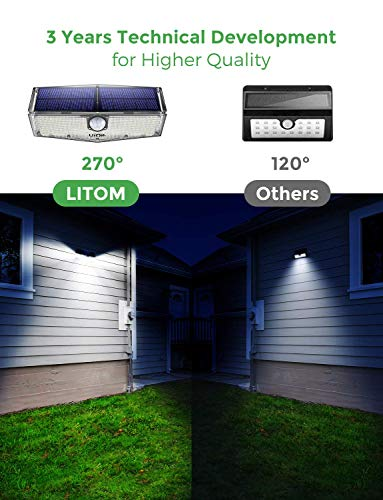 LITOM 200 LED Solar Lights Outdoor, 3 Optional Modes Wireless Motion Sensor Light with 270° Wide Angle, IP67 Waterproof, Easy-to-install Security Lights for Front Door, Yard, Garage, Deck, Porch