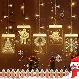 Niwicee Luz colgante de Navidad USB Cadena Cortina de Luces LED 5 Piezas Lámpara Cadena Luces de Navidad para Balcón, Ventana, Pared, Escaparate, Boda, Fiesta (Transparente, paquete de 5)