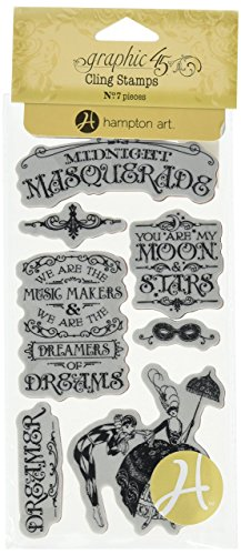 Graphic 45 Midnight Masquerade Cling Stamp Set 1 of 3