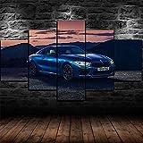 45Tdfc Impresión de Lienzo de Pared Arte Imagen Coche de Competencia de Lujo Azul M8 5 Piezas Pinturas Moderna Estirada Enmarcado Arte el para decoración del hogar