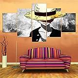 QQWERModular HD Cuadro sobre Lienzo 5 Piezas Moderno Salón Decoraciónniño Sombrero De Pajaimpreso Sin Marco Pared Art Poster Pintura150×80Cm