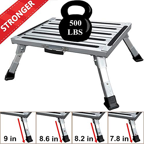 FLSEPAMB Portable RV Step Aluminum Folding Platform Steps with Anti-Slip Surface, Rubber Feet, Reflective Stripe, Grip Handle, More Supports Up to 500 lbs+