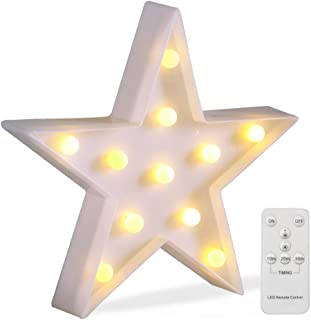 Battery Operated Night Light LED Marquee Signs with Wireless Remote Control for Kids' Room, Bedroom, Gift, Party, Home Decorations(White Star)