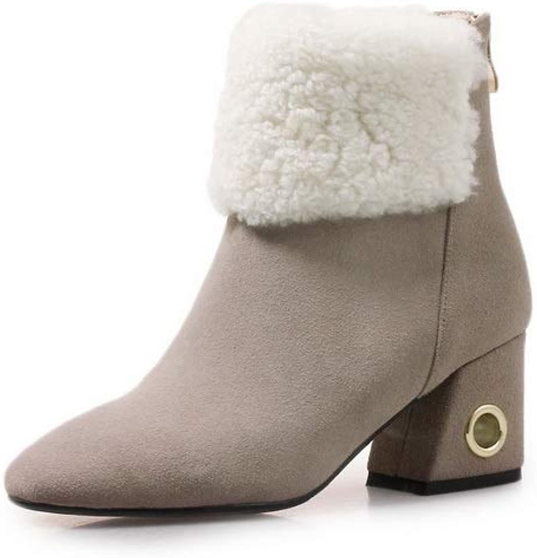 AdeeSu Womens Nubuck Kitten-Heels Solid Urethane Boots SXE04424