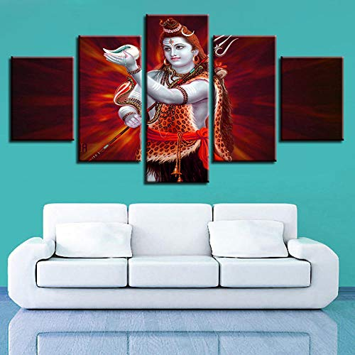 RuiYa Wall Art Frame 5 Canvas Painting Red Lord Shiva Shine Painting Living Room Decoration Decor Print Poster Murals Bedroom Wallpaper HD Impression Modular Abstract Art Live Home Canvas Vie
