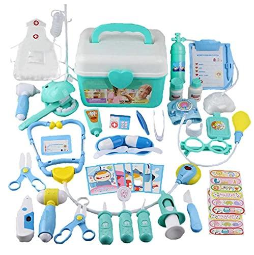 Children Finge Pretend Kit De Doctor, 44pcs Doctor Disfraz Prear Play Play Medical Dentist Toys Llevar Case Dress-up Juego con Estetoscopio Electrnico Y Abrigo para Nios
