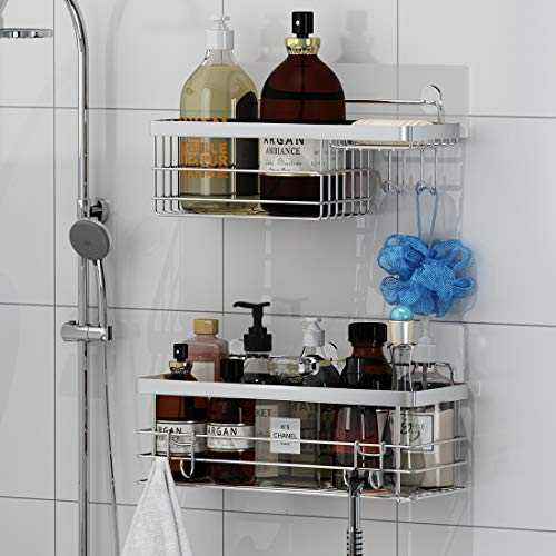 TESOT Shower Caddy + Soap Dish Bathroom Shelf Organizer with Hooks for Hanging Razor Sponge Brush, No Drilling Rustproof SUS304 Stainless Steel- 2 Pack