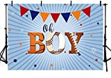 New Sports Baby Shower Photography Studio Backgrounds Basketball Baseball Soccer Oh Boy Party Decorations Banner Photo Backdrops for Candy Table Supplies 7x5ft