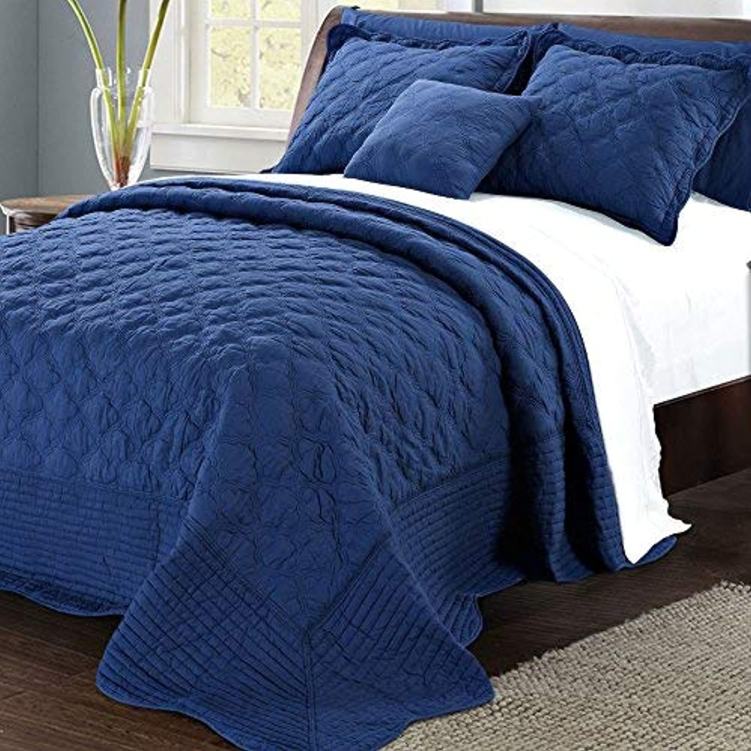 Serenta Quilted Cotton 4 Piece Bedspread Set, Queen, Dark bluee