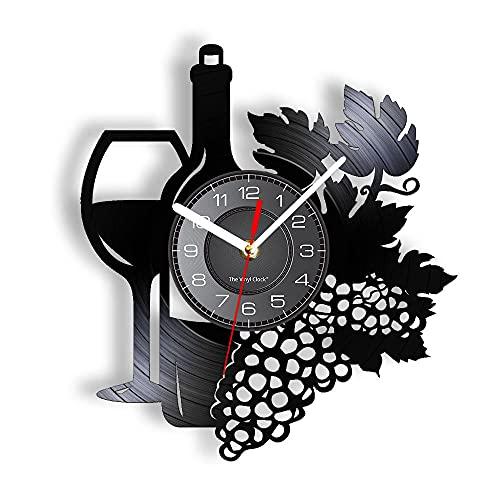 GVSPMOND Castillo Decoración Reloj de Pared Botella de Vino Tinto Diseño de Copa de Vino Reloj Moderno Moda Estilo Minimalista Arte de la Pared