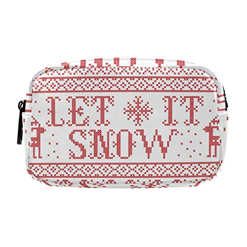 Gifts for Women, Makeup Bag, Cosmetic Bag, Toiletry Pouch Travel Accessories, Let It Snow Scandinavian Fabric Style
