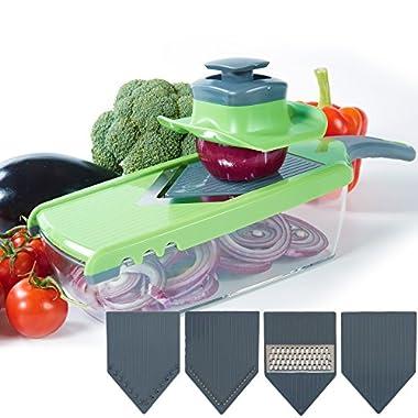 Upgraded | Mandoline V-Slicer - 6 Pieces Set - Food Slicer - Julienne Slicer - Vegetable Slicer - Potato slicer With Adjustable Blade Thickness And Food Container