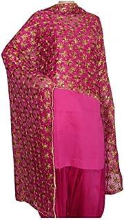 FEMEZONE Women's Crepe Chiffon Embroidered Dupatta (Rani_free Size)