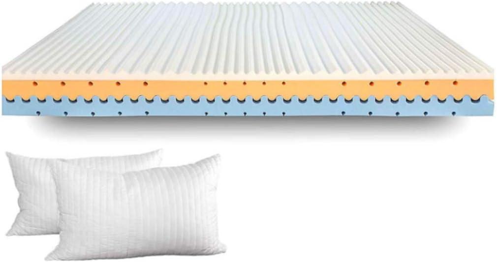 evergreenweb–colchón de Memory Foam Med Alto 25cm, Dispositivo médico, ortopédico Doble Cara de Verano y de Invierno, Placa Efecto de Masaje con 7Zonas, Funda extraíble con Fibra de Plata
