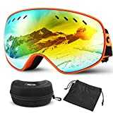 Glymnis Gafas de Esquí Máscara Gafas Esqui Snowboard OTG Super Gran Angular UV400 Protección para Hombre Mujer Adultos Jóvenes (Naranja)